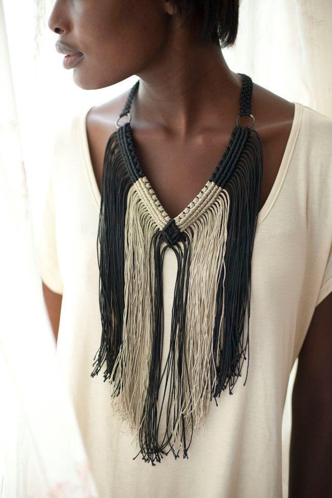 Black and Cream Fringe macrame necklace.