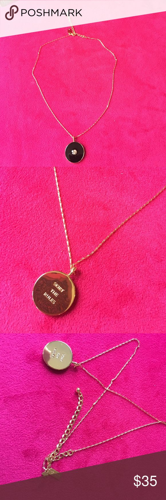 Kate Spade black enamel necklace Black enamel reversible SKIRT THE RULES necklace w gold chain. Excellent condition! kate spade Jewelry Necklaces