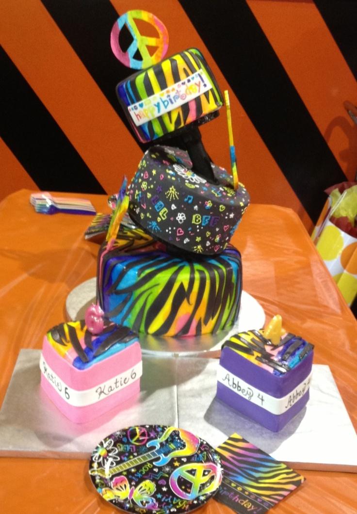 Topsy Turvy Neon Doodle Cake Girls Cake Ideas