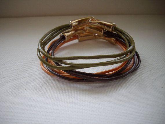 Metallic Gold Brown and Olive Green Leather by DesignsbyPattiLynn, $60.00