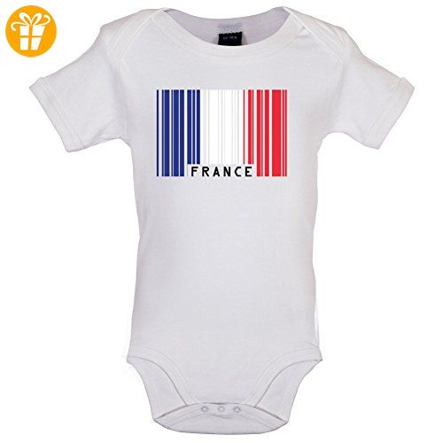 France / Frankreich Barcode Flagge - Lustiger Baby-Body - Weiß - 12 bis 18 Monate - Baby body (*Partner-Link)