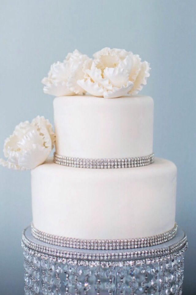 2 tier Wedding Cake with Rhinestone Border and beautiful ...