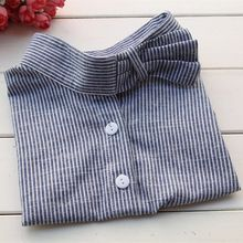 Calças de brim novas camisa Collares Blue Jeans listrado falso blusa gola falsa…