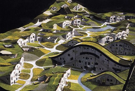"""Architectural concept - """"In the Meadow Hills"""" - Hundertwasser"""