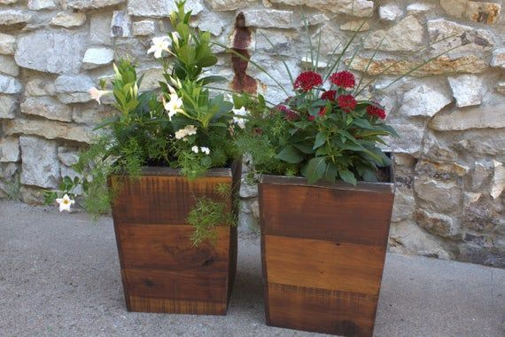 Lot Of Four 17 Outdoor Planter Boxes Bulk Sale Etsy In 2020 Rustic Planters Planter Boxes Wood Planter Box