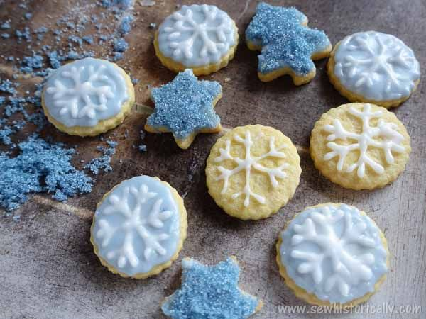 Blue Snowflake Cookies Naturally Colored With Red Cabbage
