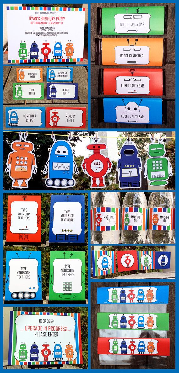 Robot Party Invitations & Decorations – full Printable Package – INSTANT DOWNLOAD with EDITABLE text – you personalize at home – Christina Braehler