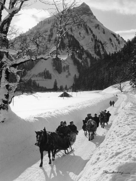 Schlittenfahrt vom Gibelhaus nach Hinterstein. Idyllische Landschaftsaufnahmen…