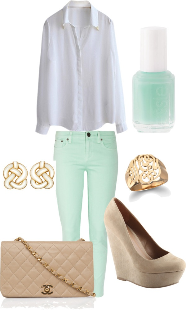 : Mint Pants, Fashion, Nude, Style, Dream Closet, Color, White Blouses, Spring Outfit