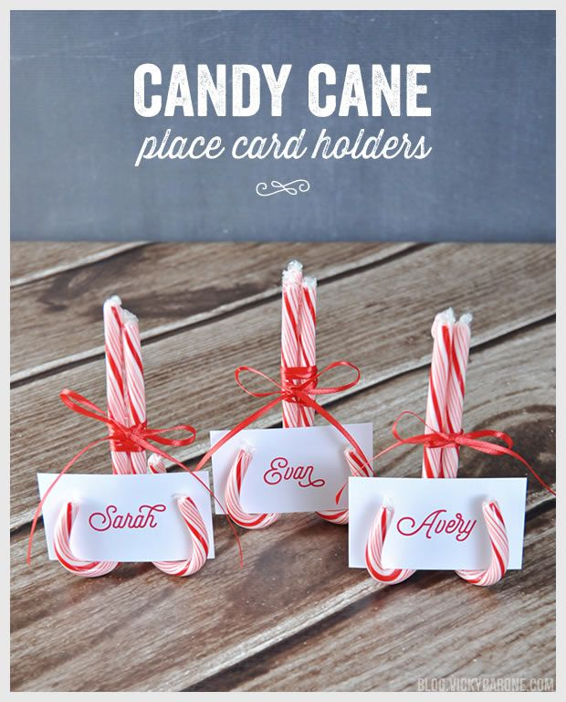 Today we're sharing a detail from this year's Christmas table! These candy cane place card holders are super easy to make (and you might even have all of the materials on hand!). Materials: three c...