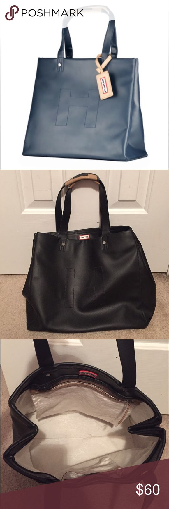 Hunter Boots Black Rubber Handbag Rubber material, easy to clean! Interior is in excellent condition! Very similar to stock image! Hunter Boots Bags Shoulder Bags
