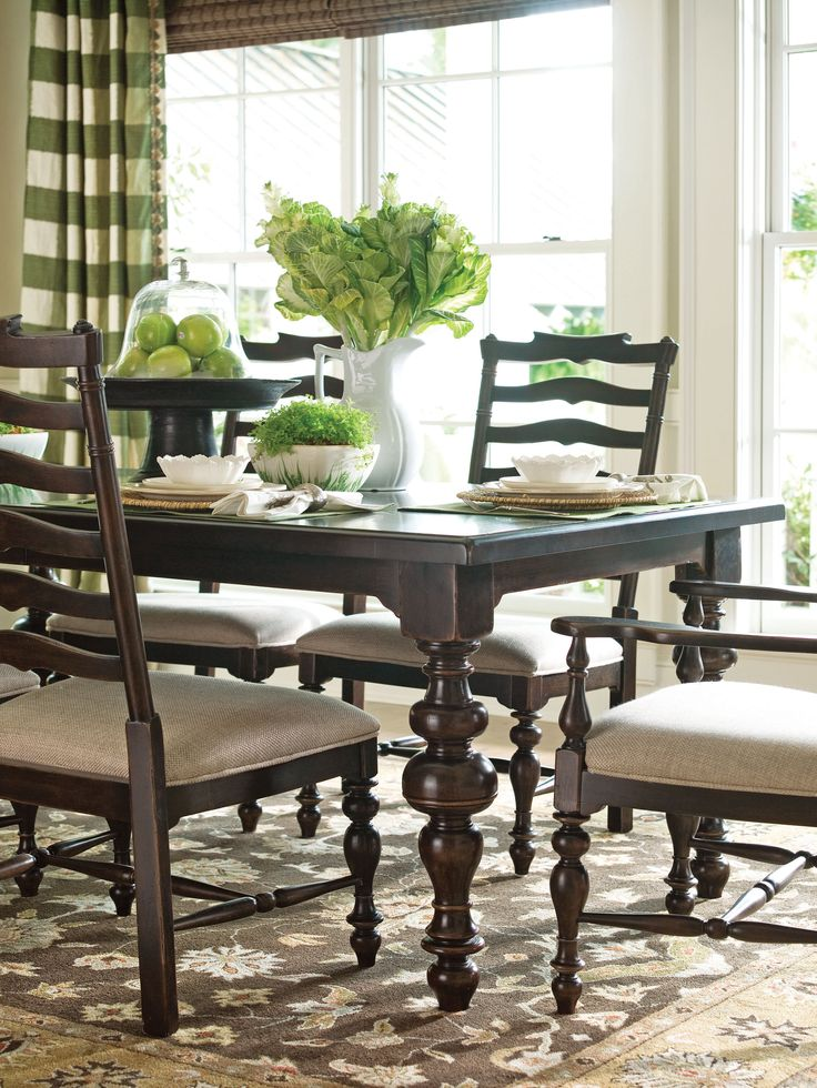Paula Deen Home Collection  Paulau0027s Table And Mikeu0027s Side Chair In A  Tobacco Finish
