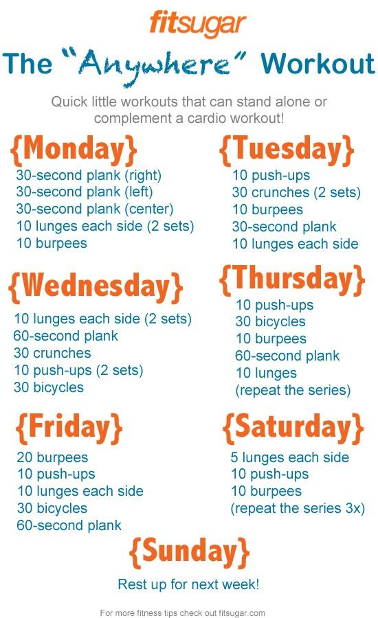 """Start your week off right with this """"Anywhere"""" Workout from FitSugar. A quick set of bursts you can do in the morning, add to your cardio routine, or use if you are beginning a fitness regime. With a different series each day of the week, you won't get bored but you will get toned!."""