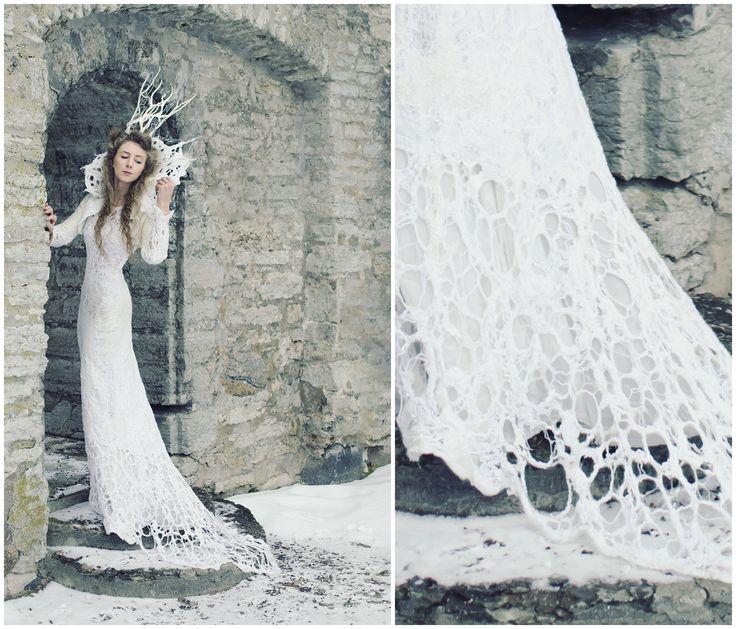 Dress of wool silk and yarns by Svetlana Vronski