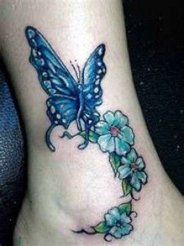 Butterfly and Flower Tattoo Design