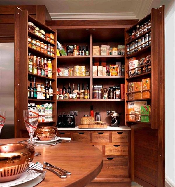 "Reach-in bat-wing pantry: The maximum practical depth of a fixed pantry shelf is 16"" (14"" is better) The ideal overall depth of a reach-in pantry with shelves is 24"". This allows 16"" storage shelves inside the pantry, and 8"" of can and bottle storage in the door of the pantry"