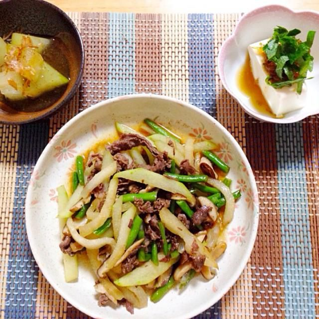 和食にしました、ちょっと色合いが似た感じにーその辺もっと工夫しないとなー! - 36件のもぐもぐ - 冬瓜炒め物と煮物、冷奴のピリ辛じゃこしそのせ by saebu