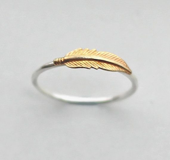 Hey, I found this really awesome Etsy listing at https://www.etsy.com/listing/186970454/feather-ring-brass-and-recycled-sterling