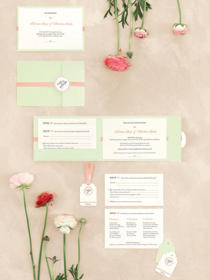 Frühlingshafte Letterpress-Kartenserie in Lindgrün und Pfirsich mit Monogramm von Hochdruckgebiet bei www.weddingstyle.de