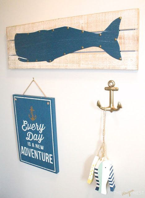 Nautical Kids Bath Makeover; coastal inspired bathroom decor. Abalone paint by Benjamin Moore with decor and accents from Target and TJ Maxx. Cape Cod look and design.