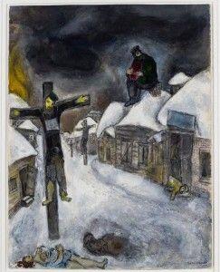 Marc Chagall in Magisch-Realistisch Vitebsk Kunst van Chagall aan het kruis heeft als onderwerp Marc Chagall zelf, de holocaust, de joden,