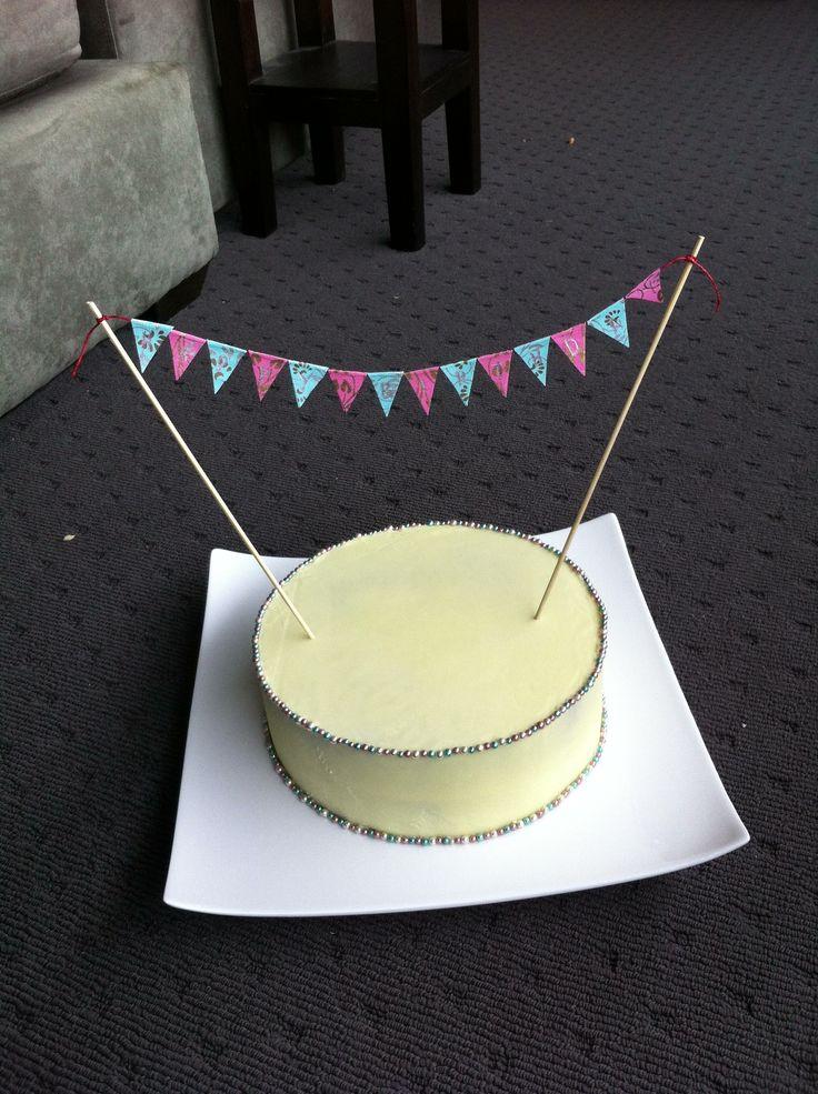 White choc mud cake with bunting