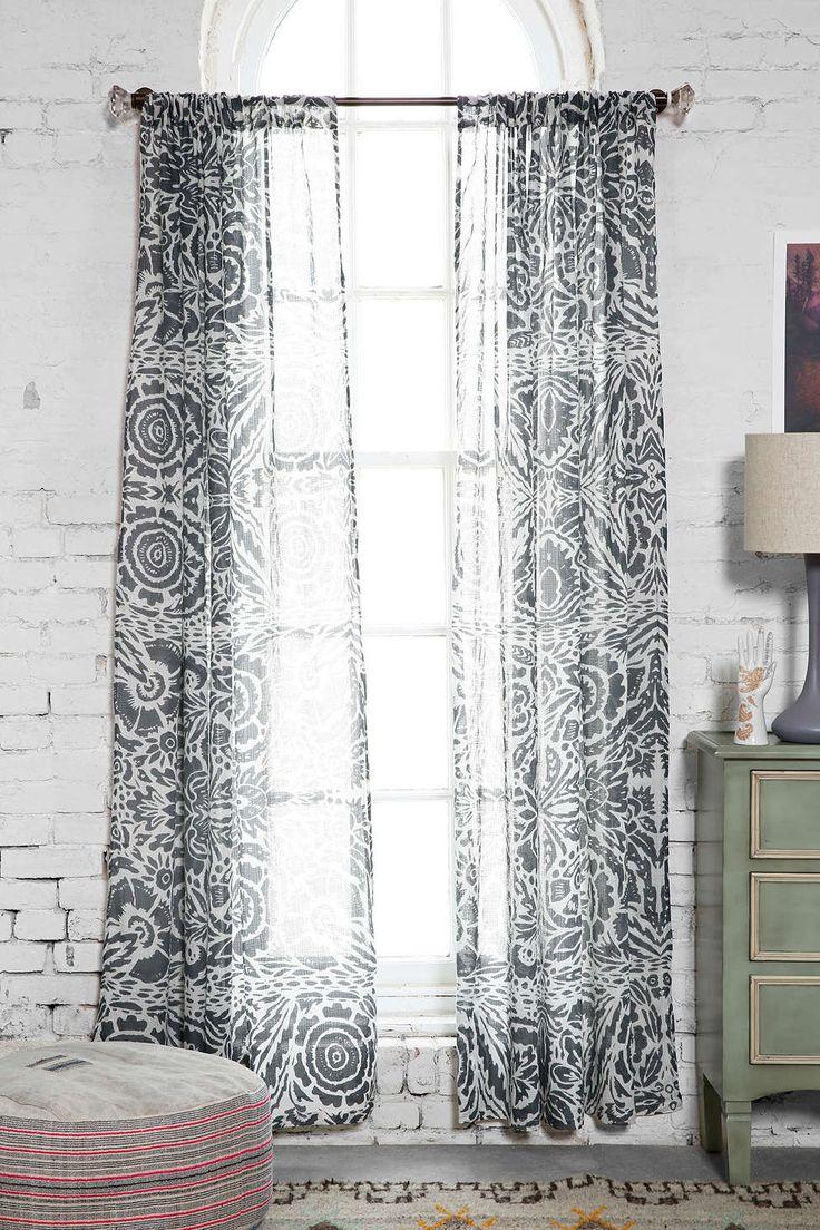 Grayson silver gray jacquard fabric cloth bathroom bath shower curtain - Magical Thinking Lino Floral Curtain