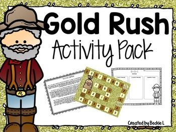This Gold Rush pack has several activities you can use when introducing your kids to the great California Gold Rush! I've included the following:- Gold Rush reading passage- Organizers that go with the reading passage-Miner invention page- Gold Mine Multiplication Mania ** A HUGE favorite!