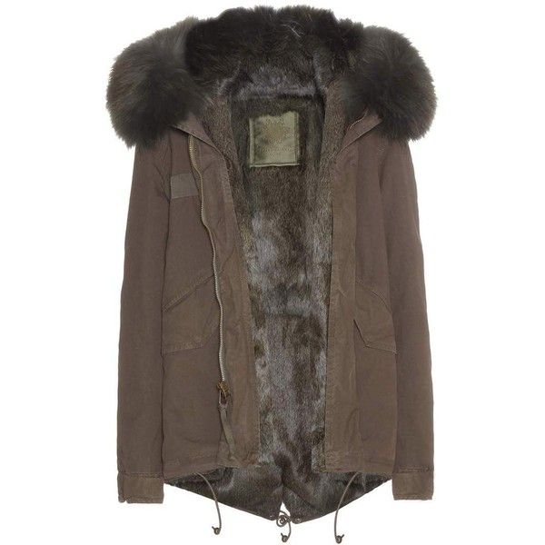 Mr & Mrs Italy Fur-Lined Parka-Style Jacket found on Polyvore featuring outerwear, jackets, coats, fur, green, fur parka, parka jacket, green fur jacket, green jacket and brown parka