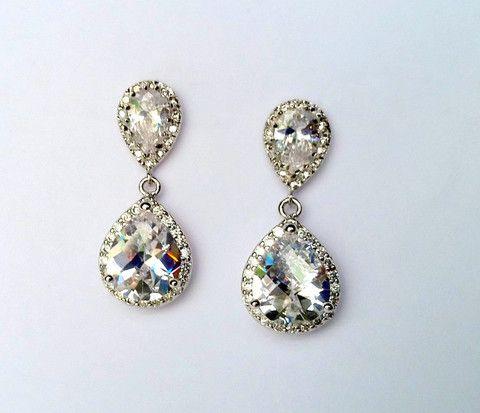 Pave Cubic Zirconia Teardrop Earrings BRIDAL JEWELRY | MIA ELLIOTT #BRIDE #earrings sale $156.00