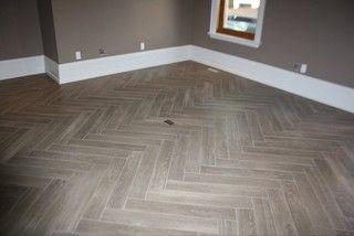 "Herringbone ""Yes its Tile"" Hardwood - modern - family room - burlington - by Gino Dalesio Renovations"