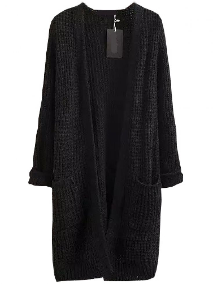 With Pockets Long Black Cardigan