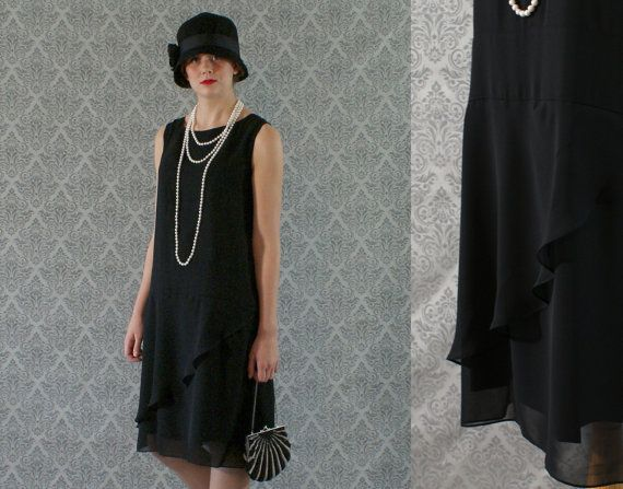 Elegant black flapper dress with ruffled by HouseOfRecollections