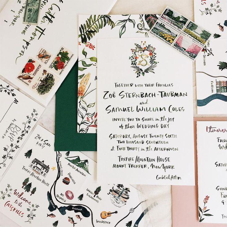 224 отметок «Нравится», 12 комментариев — Li Ward, Handlettering & Illos (@liwardian) в Instagram: «Welcome to the Catskills! Invitations flying out to their destinations. Oversized A9 main card with…»
