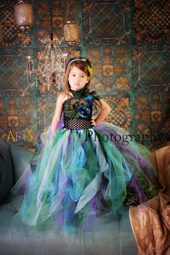 Peacock tutu dress for x2 for BJBandy by YourSparkleBox on Etsy