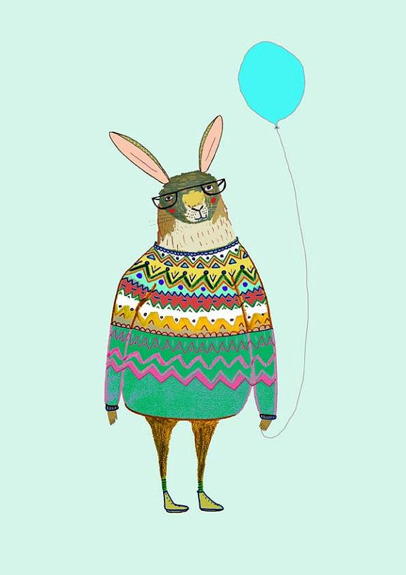 Rabbit with balloon rabbit wall art illustration print for Hanging kids artwork