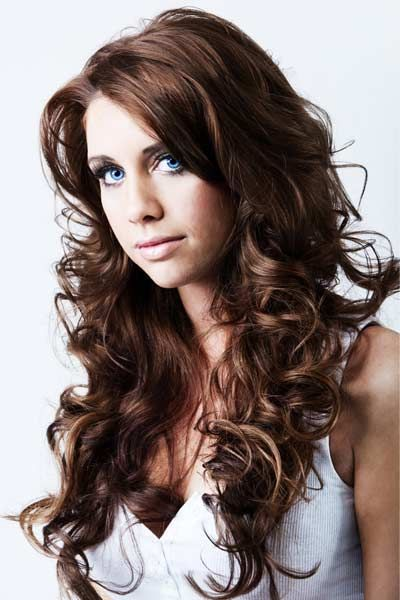 long curls with layers and color