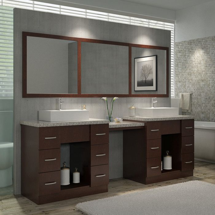 Ariel Bath Roosevelt 97 Double Sink Vanity Set With Mirror And Makeup Table