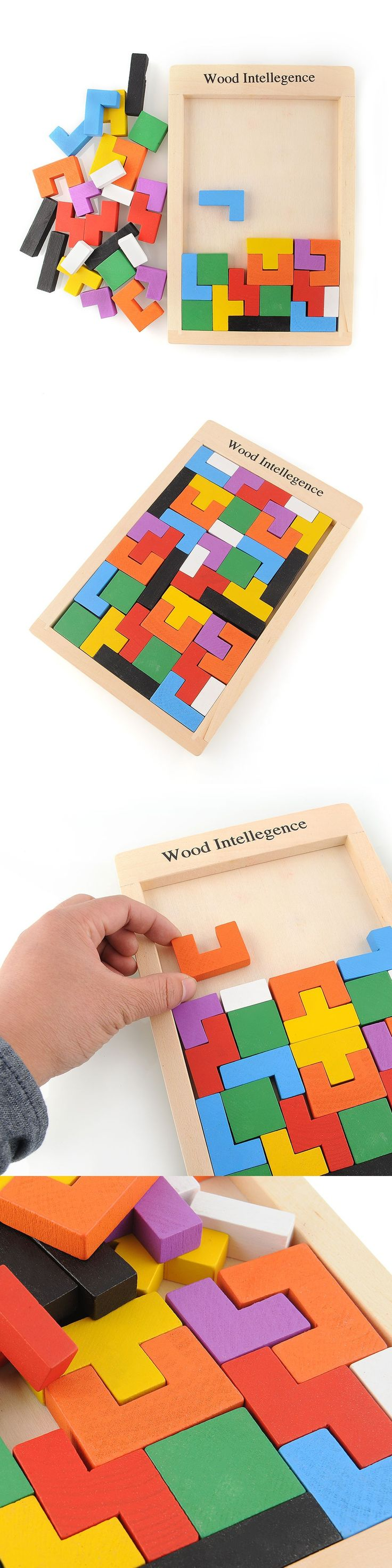 Colorful Wooden Tangram Brain-Teaser Puzzle Tetris Preschool Magination Intellectual Educational Kids Toy For Game Baby Children $6.21