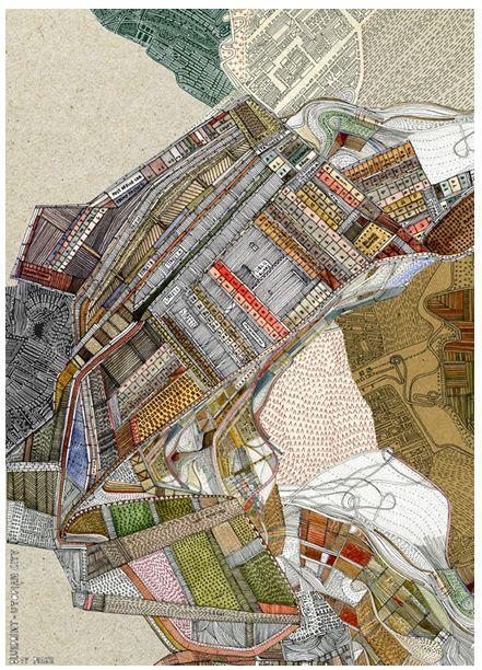 """map"" drawings are by British architect/ cartographer/ illustrator Nigel Peake"