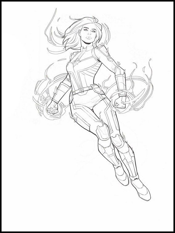 Captain Marvel 23 Printable Coloring Pages For Kids Avengers