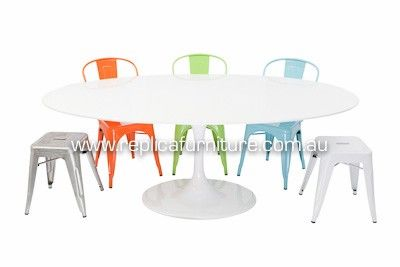 Oval Tulip Table - Replica Eero Saarinen Oval Tulip Dining Table with Replica Xavier Pauchard Chairs