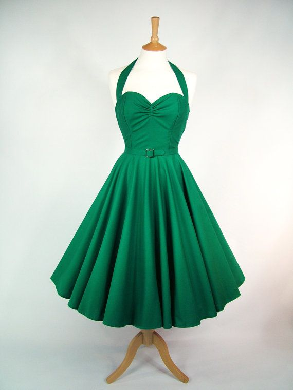 Made To Measure Green Full Circle Dress  by GinAndSinEtsy on Etsy, £110.00