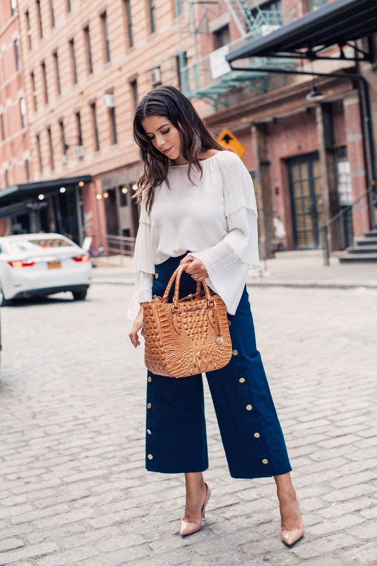 What to Wear to Work Workwear How to Style Petite Women Culottes Brahmin Bag White Blouse Nave Pants Club Monaco NYC Fashion Blogger Corporate Catwalk Bauble Bar Manhattan Fashion Women's Fashion Blog Beauty Blogger Hair Inspiration