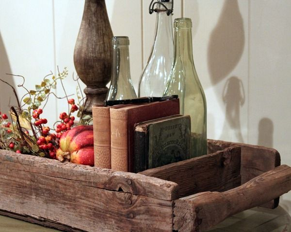 DIY: Rustic Wood Tray and Beautiful Colored Bottles.