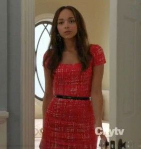 Revenge Fashion    Ashley's red tweed dress from Revenge    Buy it: Prada