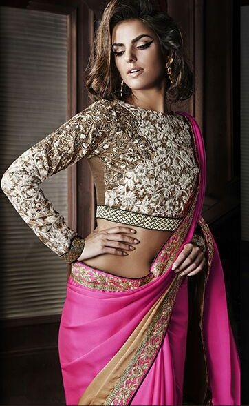 Pallu - Shaded Satin Georgette With Embroidered Lace Skirt - Shaded Satin Georgette With Embroidered Lace Blouse - Heavy Embroidery Work And Heavy HandWork On Banglori Silk