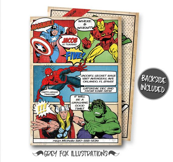 Comic Book Birthday Invitation Avengers by GreyFoxIllustrations