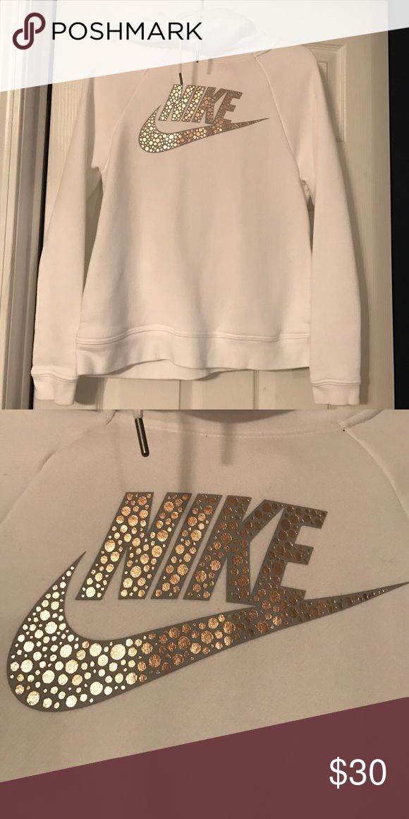 Nike Cowl Neck Hoodie White funnel neck hoodie. Nike. Size small. Grey logo with rose gold metallic polka dots. Very cute with front hand pockets on the side seam. Never worn. Priced to sell quickly!! Nike Tops Sweatshirts & Hoodies