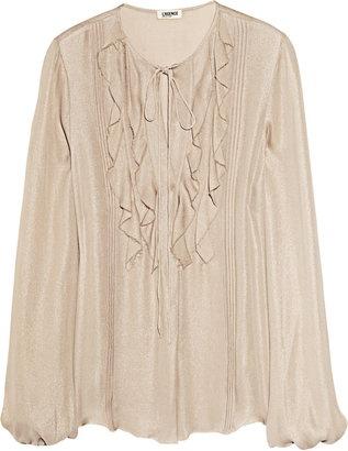 ShopStyle: L'Agence Metallic silk-georgette blouse